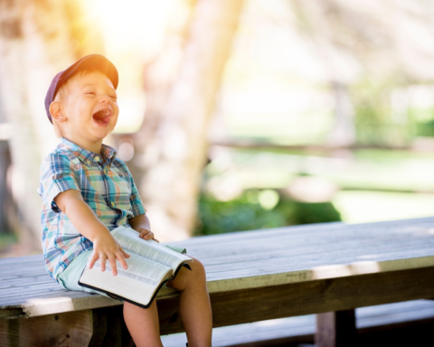 Little boy sitting on a bench with an open book on his lap, laughing