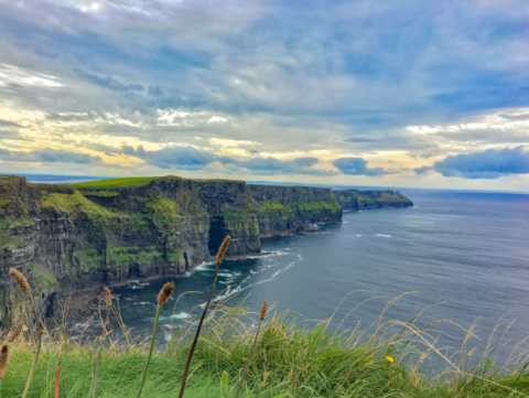 Peaceful Irish landscape with cliffs and sea